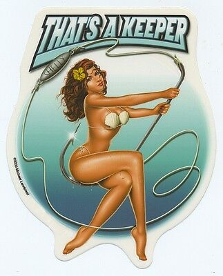 Sea SHELLY on Fishing Lure Hook CLASSIC Pinup Girl RARE Sticker Tackle Box Decal