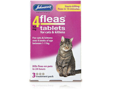 Johnsons 4FLEAS Tablets Cat Kitten 3 Tablet Pack Flea Treatment