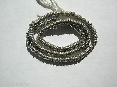 """African Handcrafted Nickel Silver Heishi Beads - 4mm - 14"""" strand"""