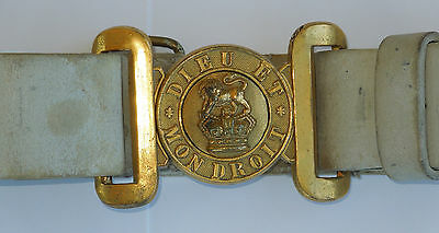 1908 Dieu Et Mon Droit Miltary Brass Belt Buckle Leather Belt WWI Canada, signed