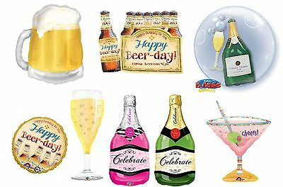 Foil Shape Champagne Beer Cocktail Celebration Glass Bottle Balloon Helium Fill
