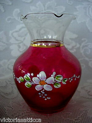 Beautiful Vintage Ruby Red Stained Glass Ruffle Vase - Hand Painted Daisies