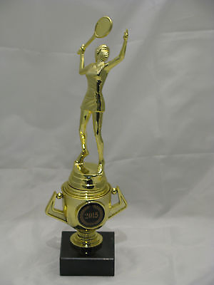 Tennis Female  Figurine Trophy on Mini Gold Cup 225mm Engraved FREE
