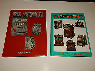 2 BOOKS ON ANTIQUE COIN-OP BY TOM GUSTWILLER-REEL AMUSEMENT-FOR AMUSEMENT ONLY