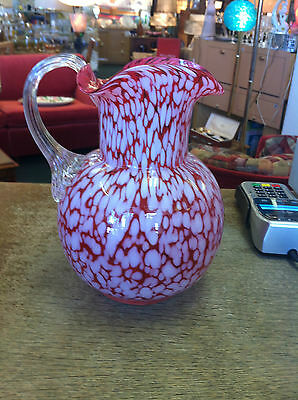 "VTG  Opalescent Cranberry 9"" Speckled Hand Blown Pitcher Attached Clear Handle"