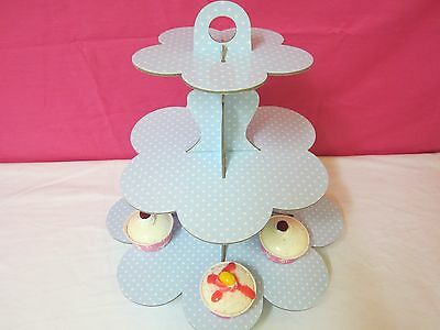 Blue  Polka Dot 3 Tier Cardboard Party Cupcake Stand Tree