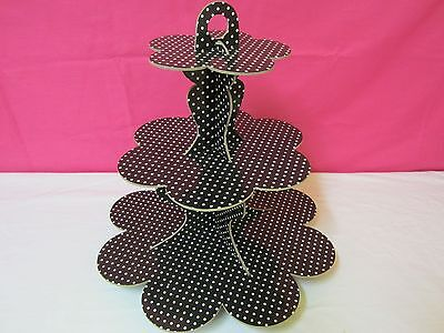 2 X Black  Polka Dot 3 Tier Cardboard Party Cupcake Stand Tree