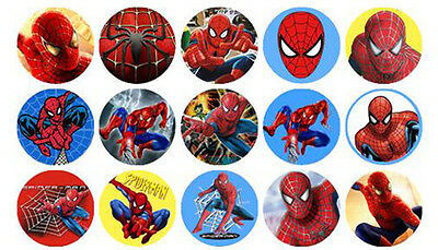 15 Mini Spiderman Custom Edible Wafer Cupcake Cup Cake Decoration Image Toppers