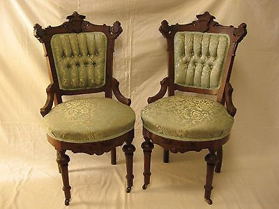 Pair of Antique Victorian Eastlake Chairs