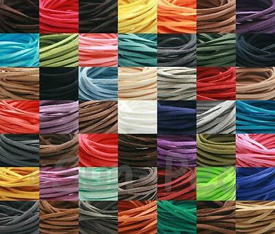 Flat 3mm Faux Suede Leather Lace 49clrs 2-90m Rope Cord String Jewelry Craft DIY