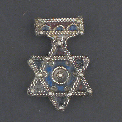 African Authentic Jewish Berber Enamel Pendant (47x32mm) Morocco