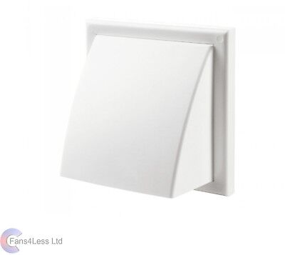 """White Cowl Wall Mounted Outlet + Shutter Extractor Bathrrom Fan 6"""" 150mm"""
