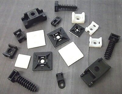 Self Adhesive Cable Ties Mounts Black White Wall Mounted Masonry Clips Cables