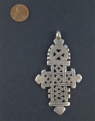 Ethiopian Coptic Cross Pendant Large 90mm African Silver White Metal Large Hole
