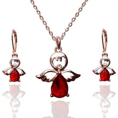 18k Gold Plated Ruby Austrian Crystal Angel Earrings Necklace Jewelry Sets F342