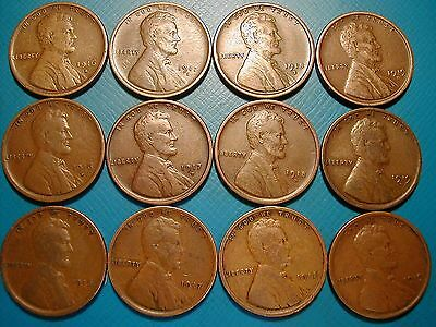 1916-Pds---1919-Pds Lincoln Wheat Cent Penny Lot, 12 Coins,  All Fine