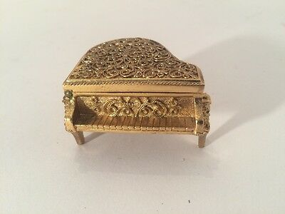 Vintage Ornate Miniature Ornate Piano  Trinket Signed Avon