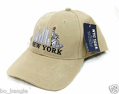 Beige Coloured Embroidered New York Unisex Baseball Cap Med-Large Adult