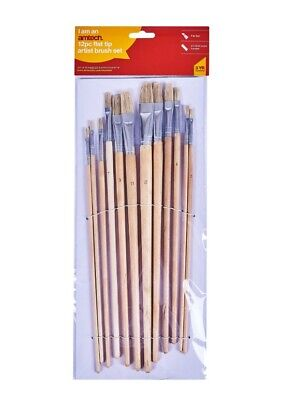 12pc Flat Tip Art Brush Set XL Craft Work Painter Artist Oil/Acrylic Paint
