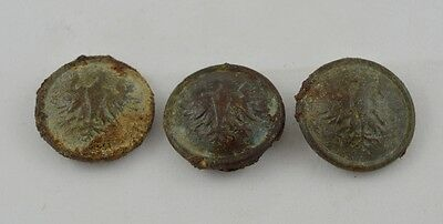 POLISH WWII SOLDIER'S BUTTONS KURICA WAR RELIC SET OF 3 pcs.