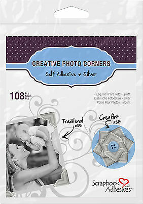 3L 01627 CREATIVE PHOTO CORNERS SILVER, SELF ADHESIVE 108 ea