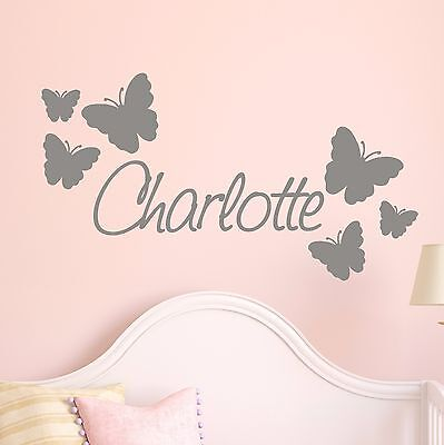 Personalised Name with BUTTERFLIES Wall Art sticker decal Girls Room Kids NA13