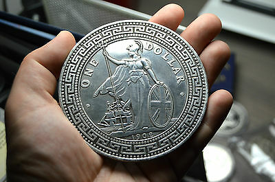 HUGE TRADE  DOLLAR CHINESE COIN RESTRIKE MEDAL. PAPER WEIGHT SILVER PLATED
