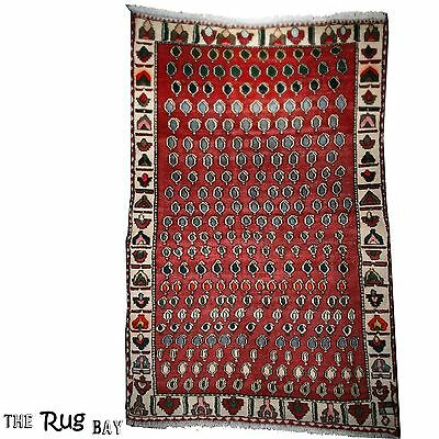 Vintage PERSIAN RUG Carpet Handmade Traditional 100% Wool 192 x 121cm - 9681