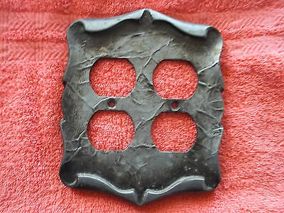 1970's Era Double Outlet Cover Plate, Pewter Color, Heavy Metal, Free S/H