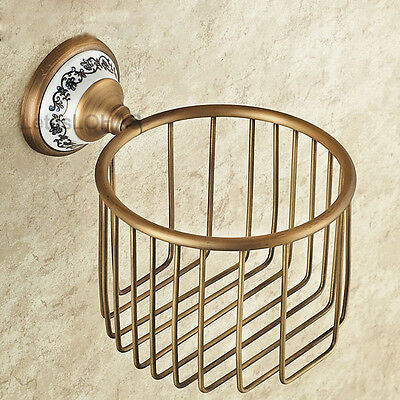 Elegant Design Antique Brass Toilet Roll Paper Holder Wall Mounted Tissue Basket