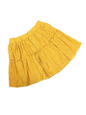 Next Girls Mustard Yellow Broderie Anglaise Tiered Lined Skirt Ages 3-16 NEW