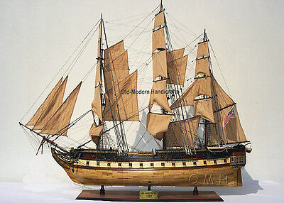 """USS Constitution Old Ironsides Tall Ship 59"""" Wood Model Sailboat Assembled"""