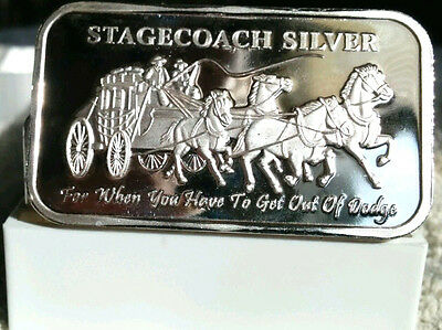 SET OF 2 - 1 oz  STAGECOACH SILVER BAR  - IN MINT PACKAGING - .999 fine  -  SC4