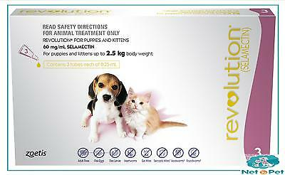 Revolution for Puppies & Kittens up to 2.5kg 3Pk Flea Wormer Spot On Prevention