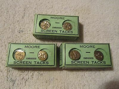 3 Vtg. Boxes of Moore Numbered Brass Screen Tacks in Original Boxes