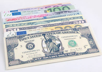 New Chic Unisex Mens Womens Currency Notes Pattern Pound Dollar Purse Wallets TO