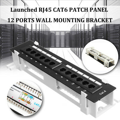 12 Ports CAT-6 Patch Panel Network Wall-Mount Mounting Rack Bracket w/ Screws