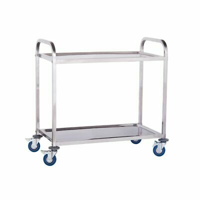 2 Tier Stainless Steel Catering Serving Trolley Cart Large Capacity 160 Kg New