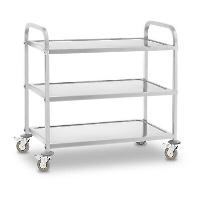 3 Tier Stainless Steel Catering Serving Trolley Cart Large Capacity 480 Kg New