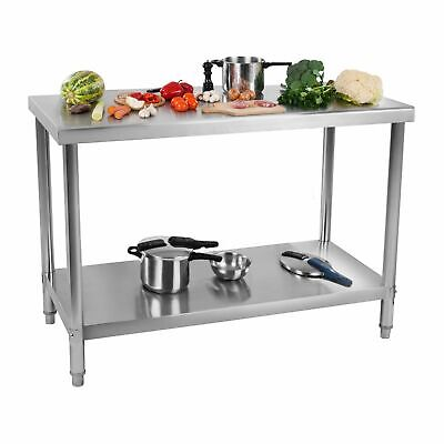STAINLESS STEEL TOPPED WORK BENCH TABLE 2 SHELVES 11 CM 120 x 70 CM 115 KG LOAD