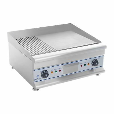 DOUBLE ELECTRIC GRILL GRIDDLE HOTPLATE STAINLESS STEEL RIFFLED 2 x 3200 WATT