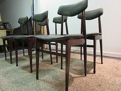 SET OF 6 MID CENTURY DANISH MODERN FREE SPACE FLOATING SEAT DINING CHAIRS