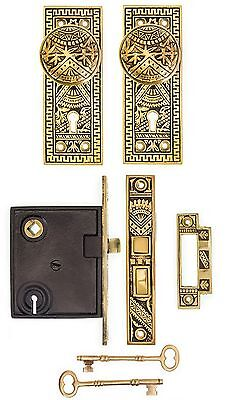 Oriental pattern complete privacy mortise lock doorknob back plate set
