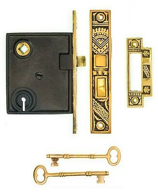 Oriental pattern keyed mortise lock