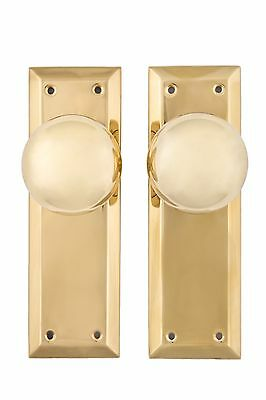 NY doorknob and back plate passage set solid brass lacquered brass