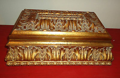 Large Vintage Looking Bombay Gold Jewelry Box with clock