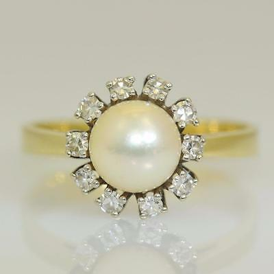 Vintage Pearl and Diamond Ring In 14ct Gold