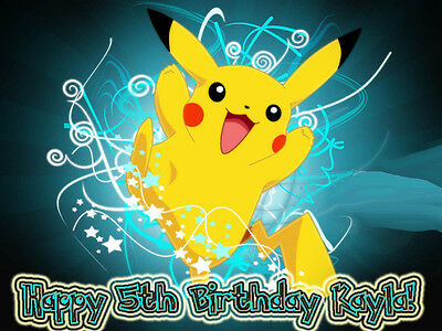 PIKACHU Edible Birthday CAKE Image Icing Topper FREE SHIPPING Pokemon