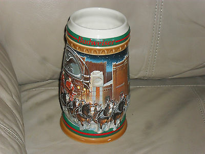 "1997 BUDWEISER  STEIN  ""HOME FOR THE HOILDAYS"""