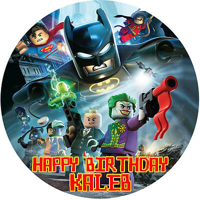 SUPERHEROES Edible ICING Image Birthday CAKE Topper Decoration Lego Batman